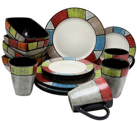 Elama Country Cottage 16-Piece Stoneware Dinnerware Set