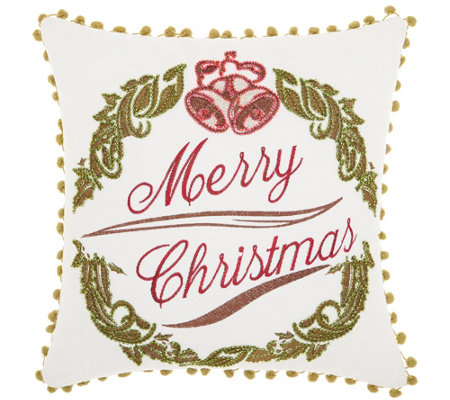 "Kathy Ireland Wreath White 16"" x 16"" Throw Pillow"