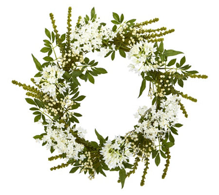"24"" White Mixed Artificial Wreath by Nearly Natural"