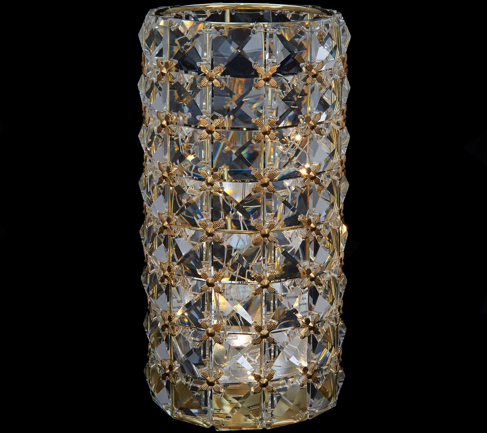 Illuminated Faceted Gem Hurricane with Microlights by Valerie Gold and Clear