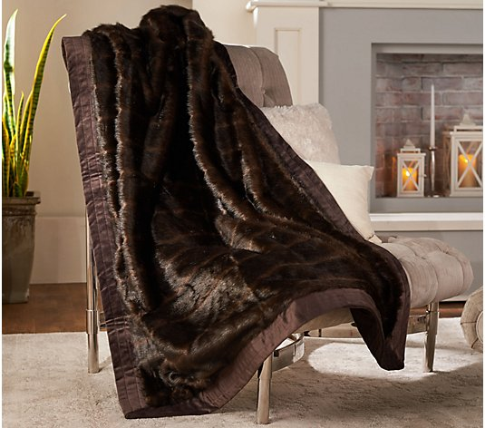 "Dennis Basso Platinum 50"" x 60"" Faux Fur Throw w/Velvet Border"