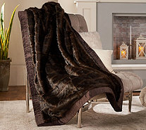 "Dennis Basso Platinum 50"" x 60"" Faux Fur Throw w/Velvet Border - H213143"