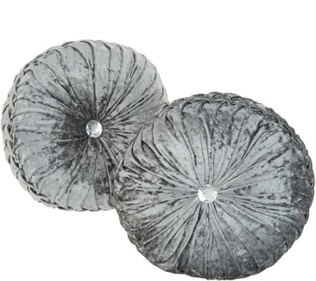 Casa Zeta-Jones Set of 2 Round Velvet Ruched Pillows