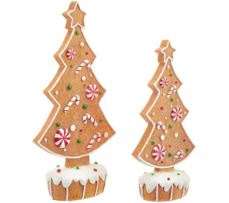 Set of 2 Gingerbread Silhouette Trees by Valerie
