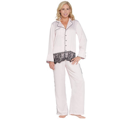 """As Is"" Casa Zeta-Jones Satin Lace 2-Piece Pajama Set"
