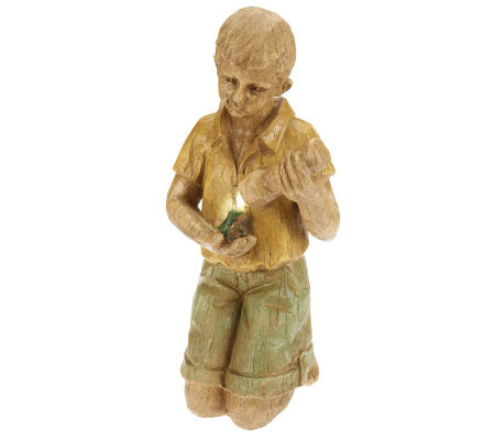 Plow & Hearth Boy with Flashlight Statue