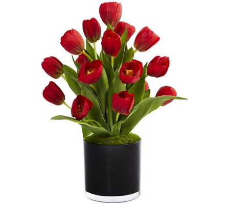 Tulips in Black Glossy Cylinder by Nearly Natural