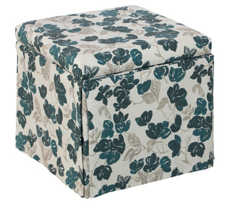 Skyline Furniture Skirted Storage Ottoman In Bloom Turquoise