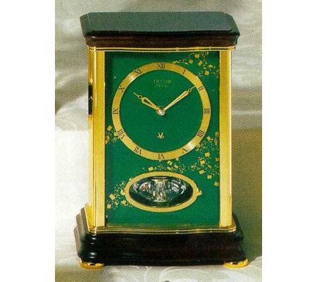 Seiko Decor Clock With Mahogany Br Case Green Face