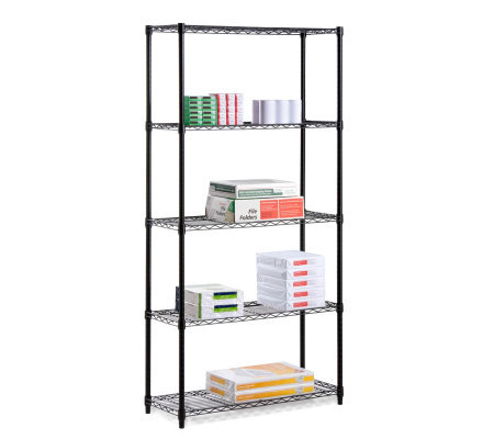 Honey-Can-Do Five-Tier Black Storage Shelves -200 lbs