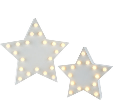 ED On Air Set of 2 Lit Marquee Stars by Ellen DeGeneres