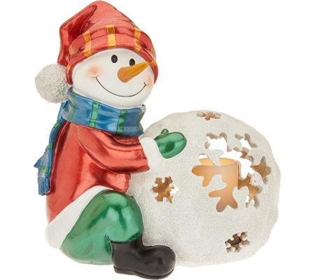 "Kringle Express 17"" Illuminated Snowball Friend with Flameless Candle"