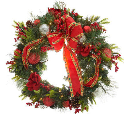"Indoor/Outdoor Illuminated 31"" Holiday Cheer Wreath by Valerie"