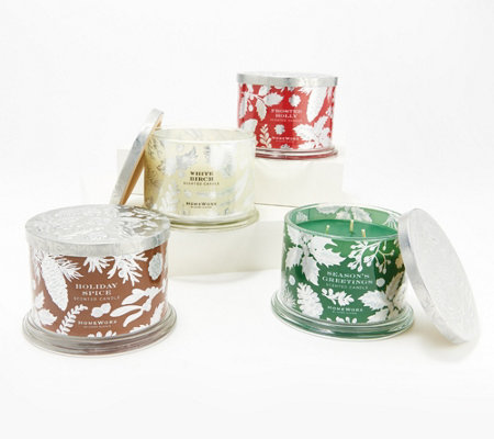 HomeWorx by Harry Slatkin Special Edition Set of (4) 14oz Holiday Candles