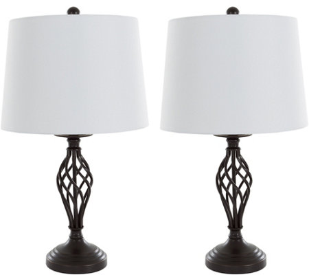 Lavish Home Table Lamps Set of 2, Spiral Cage Design