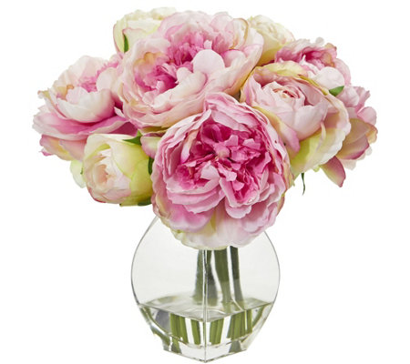 Peony Arrangement In Vase By Nearly Natural