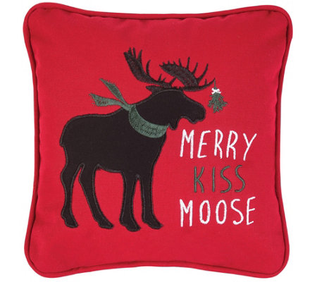 Merry Kiss Moose Pillow By C F Home