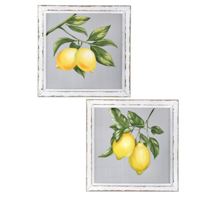 "Painted Lemon Branch On Screen 16"" x 16"" by Valerie"