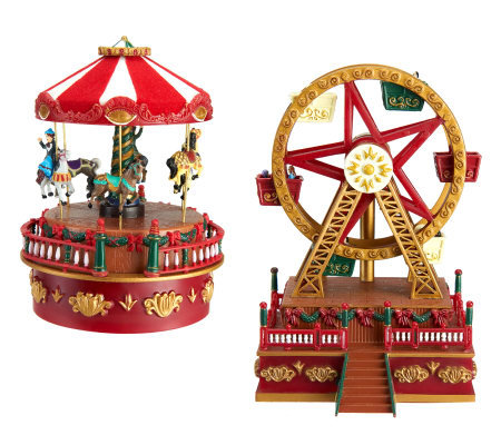 mr christmas set of 2 animated carousel and ferris wheel