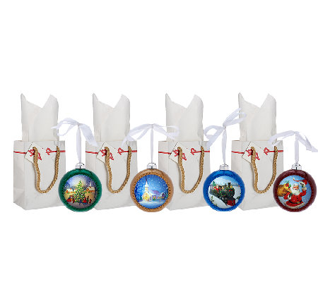 Illuminart Set of 4 Christmas Ornaments with Gift Bags