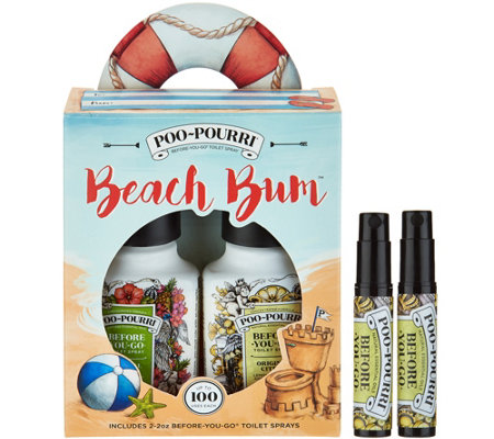 Poo-Pourri Beach Bum Set with (2) 2oz. Bottles and (2) 4mL Bottles
