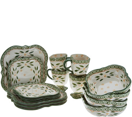 Temp-tations Old World 16-Piece Square Dinnerware Set  sc 1 st  QVC.com : dinnerware 16 piece sets - pezcame.com