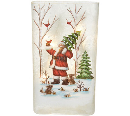 "12.5"" Glass Illuminated Pillar w/ Holiday Scene by Valerie"