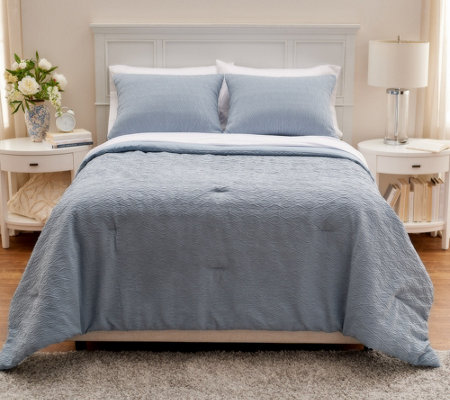 Stay By Stacy Garcia Queen Crinkle Lightweight Comforlet Set