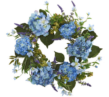 "24"" Blue Hydrangea Wreath by Nearly Natural"