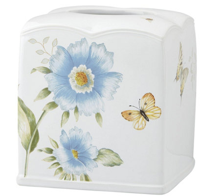 Lenox Blue Floral Garden Tissue Holder