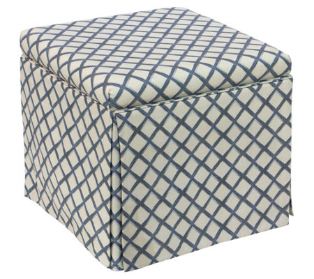 Skyline Furniture Skirted Storage Ottoman In Lattice Navy