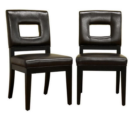 Faustino Set of 2 Bicast Leather Dining Chairs