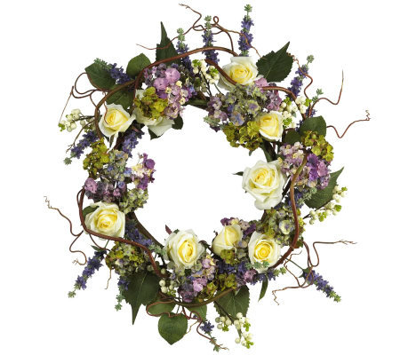 "24"" Hydrangea Rose Wreath by Nearly Natural"