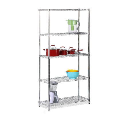Honey-Can-Do Five-Tier Chrome Storage Shelves -200 lbs