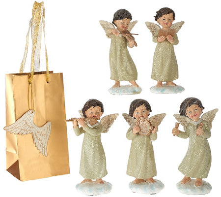 """As Is"" Set of 5 Musical Angels with Gift Bags by Valerie"