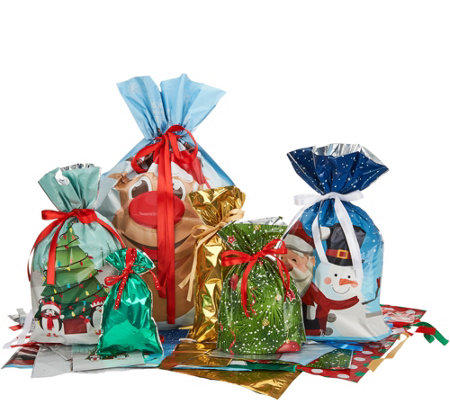 Kringle Express 60pc Easy Drawstring Gift Bags & Tags