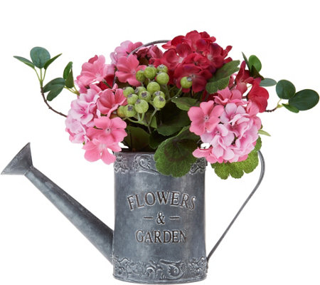 "13"" Geranium and Berries in Watering Can by Valerie"