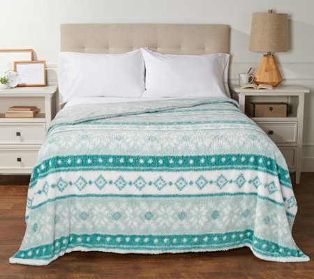 Berkshire Twin Printed Sherpa Blanket with Velvet Soft Reverse