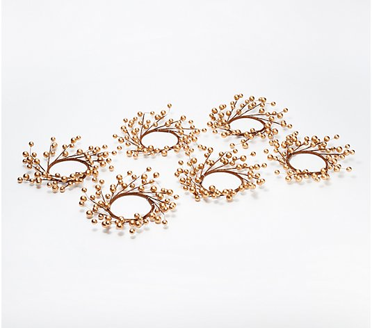 Luminara Set of 6 Gold Berry Candle Wreath Rings