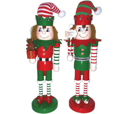 "S/2 14"" Elves at Work Nutcrackers by Santa's Workshop"