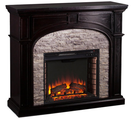 Tanaya Electric Fireplace Ebony W Gray Stacked Stone