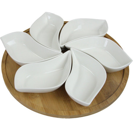 "Elama Signature 13.5"" 7-pc Appetizer and Condiment Server Set"