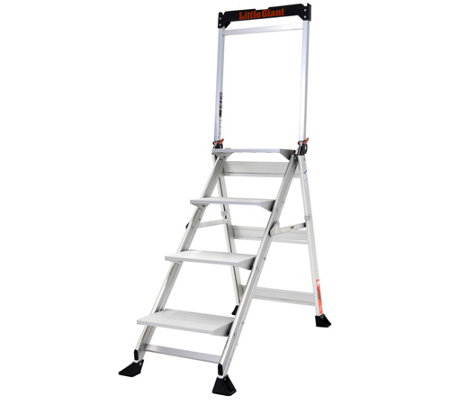 Swell Little Giant Lightweight 4 Step Jumbo Aluminumstep Ladder Qvc Com Pabps2019 Chair Design Images Pabps2019Com