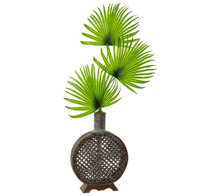 Fan Palm In Open Weave Vase By Nearly Natural