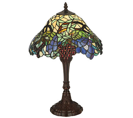 "Tiffany Style 18-1/2""H Spiral Grape Accent Lamp"