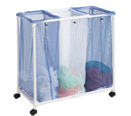 Honey-Can-Do 3 Bag Mesh Rolling Hamper
