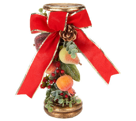 Beaded Fruit Candlestick with Berries, Pine, and Eucalyptus