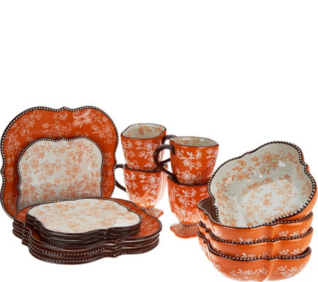 Temp-tations Floral Lace 16-Piece Square Dinnerware Set