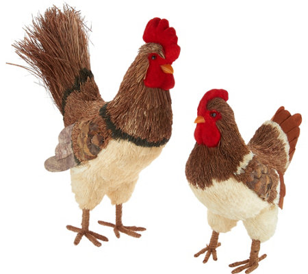 Anniversary 2pc Rooster & Hen Sisal Decor Figures by Valerie