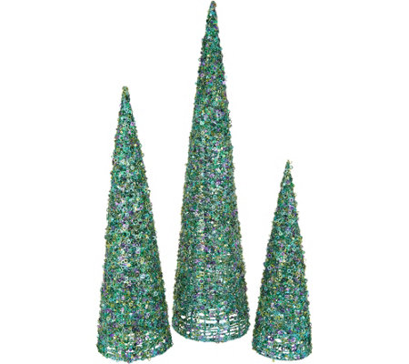 """As Is"" Set of 3 Graduated Sequined Cone Trees by Valerie"